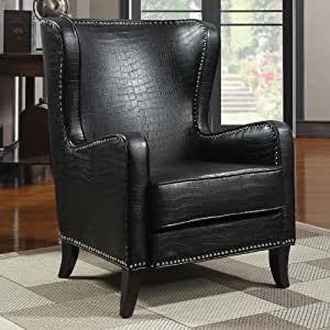 Black Embossed Faux Leather Accent Chair Kitchen Home