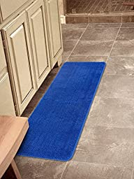 Ottomanson Softy Collection Color Solid (Machine-Washable/Non-Slip) Kitchen/Bathroom Mat Rug, Sax Blue, 20\