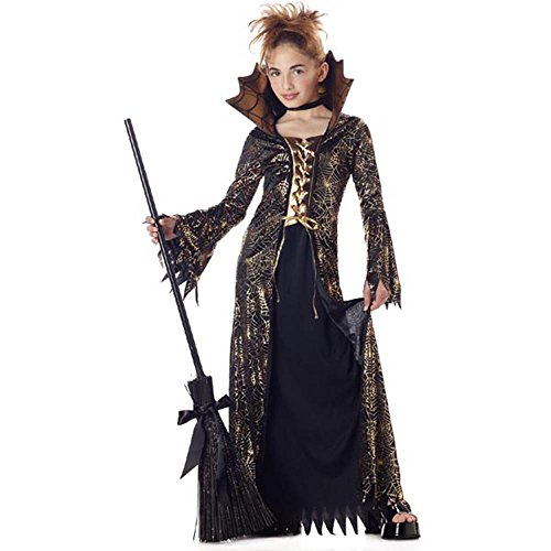 Child's Gold & Black Spider Witch Costume Size Small 4-6