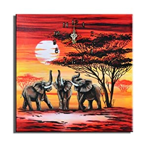 "Bilderdepot24 horloge murale ""éléphants M2"" 30x30cm D 08"