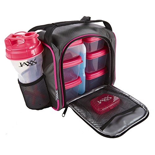 Jaxx FitPak with Portion Control Container Set, Reusable Ice Pack, and Shaker Cup (Black/Pink) (Shaker Container compare prices)