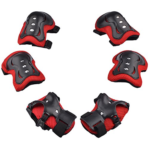 Advantagesale 6 Pcs Kids Children Roller Bicycle Bike Skateboard Extreme Sports Bogu Protector Guards Pads Sport Protective Gear Safety Pad Safeguard Knee Elbow Wrist Support Pad Set, Black&Red front-206540