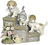 Cosmos SA49111 Fine Porcelain Three Puppies on Garden Steps Musical Figurine, 5-7/8-Inch