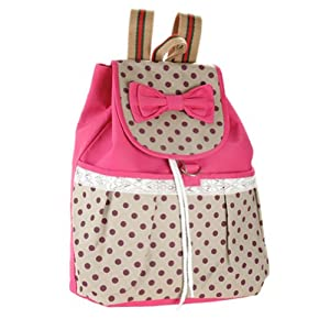 Donalworld Women Dot Bow String Canvas or Manmade Leather Backpack School Bags (Rose2)