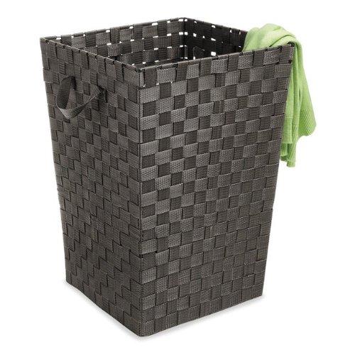 Whitmor 6581-2011-Espr Woven Strap Laundry Hamper, Espresso front-481286