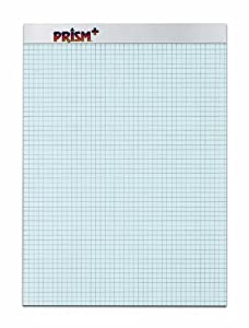 TOPS Prism 100% Recycled Legal Pad, 8-1/2 x 11-3/4 Inches, Perforated, Blue, Quad Rule (5 x 5), 50 Sheets per Pad, 12 Pads per Pack (76581)