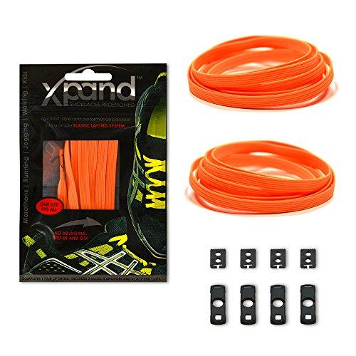 Xpand® Lacci da Scarpe niente-nodo - Lacci Elastici Piatti con Tensione Regolabile - Adatti per Tutte le Calzature (NEON ORANGE)