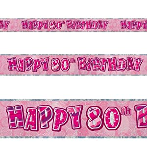 12ft Happy 80th Birthday Pink Sparkle Prismatic Party Foil Banner Decoration by Unique
