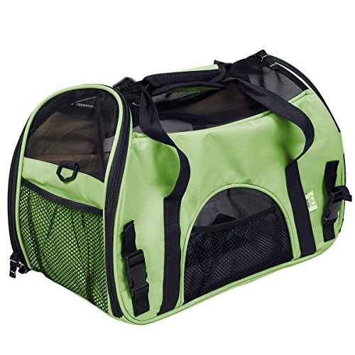 Super buy Small Pet Carrier OxFord Soft Sided Cat/Dog Comfort Travel Tote Shoulder Bag (green)