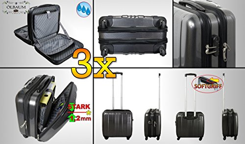 3x Large Premium Weatherproof Case Pilot Case Large Stable With 4Wheels Daypack Aluminium Design Hard Case Black, Business Suitcase with Wheels and Telescopic Handle, Stable and Spacious Clear Dividers