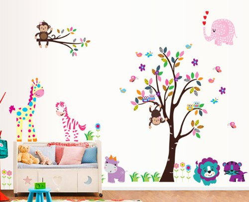 Toprate(Tm) Animal Paradise Zoo Giraffe Monkey Tree Diy Removable Wall Decal For Living Room Nursery Baby Children'S Room Vinyl Wall Sticker Art Home Decoration front-17743