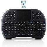 VicTsing 2.4 GHz Mini Tastiera Wireless Ergonomica con Mouse Touchpad con 92 Pulsanti Tastiera QWERTY