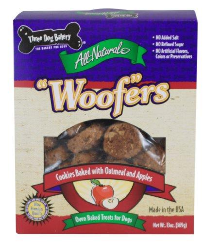 "Three Dog Bakery Apple Oatmeal ""Woof""er Cookies, Baked Dog Treats, 14 ounces"