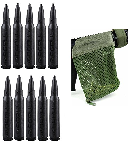 Magpul 215 Black 5.56 Pack Of 10 Dummy Ammo + Ultimate Arms Gear Tactical Od Olive Drab Green Deluxe Mesh Ar15 Ar-15 .223 5.56 Rifle Brass Shell Bullet Catcher Bag