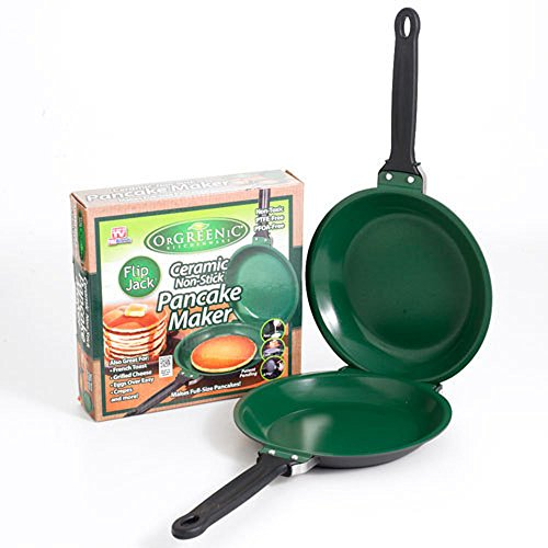 As Seen on TV Flip Jack Pancake maker Ceramic Green NonStick Cookware Pan New (Green Flip Pan compare prices)