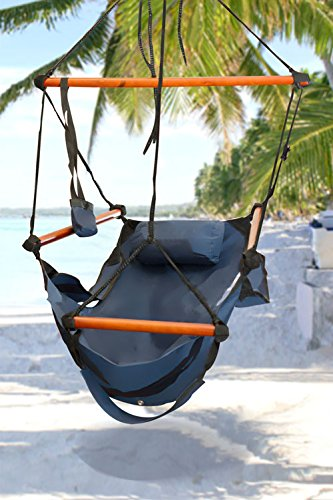 Best Choice Products® Hammock Hanging Chair Air Deluxe Sky Swing Outdoor Chair Solid Wood 250lb Blue