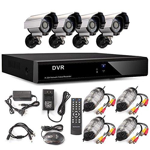 Bestselling 4CH H.264 DVR Recorder Aufzeichnungsgerät CCTV Video Überwachungssystem mit 4x 700TVL IR Nachtsicht Überwachungskamera Set Wetterfest Outdoor