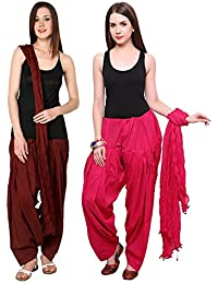 Mango People Products Patiala Salwars And Dupatta Set Combo(Free Size,Brown & Rani Pink Colour By Mango People...