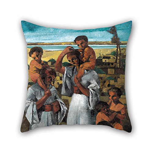 Artistdecor 18 X 18 Inches / 45 By 45 Cm Oil Painting Georges Sabbagh - Arab Motherhood Throw Pillow Covers