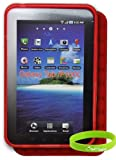 CrazyOnDigital New Red TPU Skin Case for Samsung Galaxy Tab P1000. Bonus Wristband Included