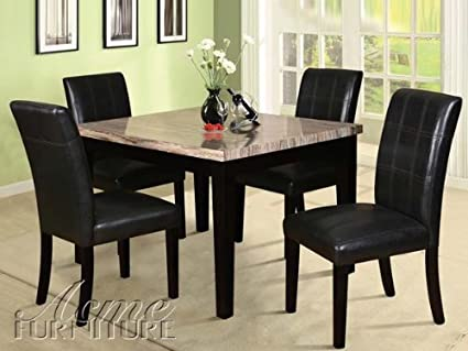 Siomar 5 pc. Dining Table Set w/ Marble Table Top in Black by Acme Furniture