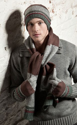 New Mens LUDVIG Designer Knitted Beanie Hat With Matching Long Scarf and Gloves. A Very Warm Winter Thermal Fashion Set