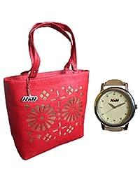 H&H Women HandBag + Watch Combo - Blossom Red Handbag + Premium Golden Studded Camel Watch