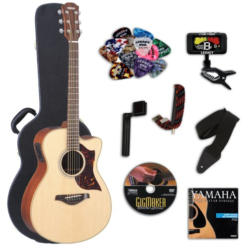 Yamaha Ac1R Acoustic-Electric Guitar With Yamaha Hard Case & Legacy Kit (Tuner, Picks, Dvd & More)
