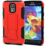 S5 hülle,HOOMIL® Samsung Galaxy S5 Dropdown-beweis stoßfest Handy Schutzhülle Weich Silikon Dual Layer Holster Armor Case mit Ständer und Gürtelclip hülle für Samsung Galaxy S5 SV i9600 (Rot)