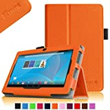 "Fintie Chromo 7"" Android Tablet Folio Case Cover - Premium Leather With Stylus Holder for Chromo Inc.® 7"" Tab [New Model September 2013 Front Camera Only] -Orange"