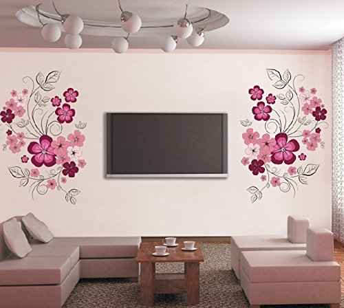 ORDERIN Cyber Monday Decal Vivid Pink Flower Vine Removable Mural Wall Stickers for Television Background Living Study Home Wall Decor (Brown Flower Wall Decal Stickers compare prices)