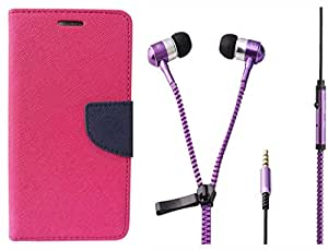 Novo Style Wallet Case Cover For Samsung Galaxy Grand 2 7106 Pink + Zipper Earphones/Hands free With Mic 3.5mm jack