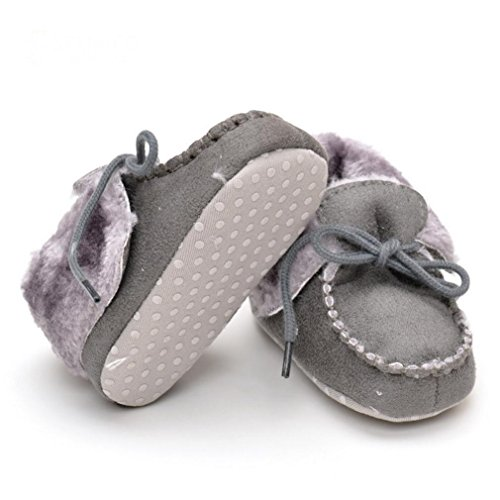 Voberry® Toddler Girls Boys Fleece Woollen Fur Knitted Snow Boot (6~12 Month, Grey)