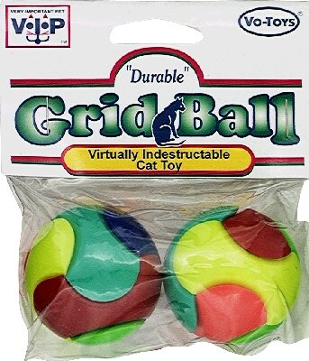 Vo-Toys Plastic Grid Balls 2 pack Cat Toy