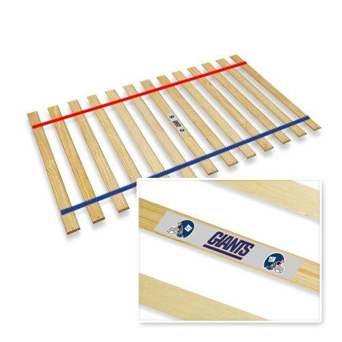 New Queen Size Custom Width Bed Slats With New York Nygiants Themed Colored Strapping And Team Logo Bumper Sticker! - Choose Your Needed Size - Eliminates The Need For A Link Spring Or Box Spring! front-1017356