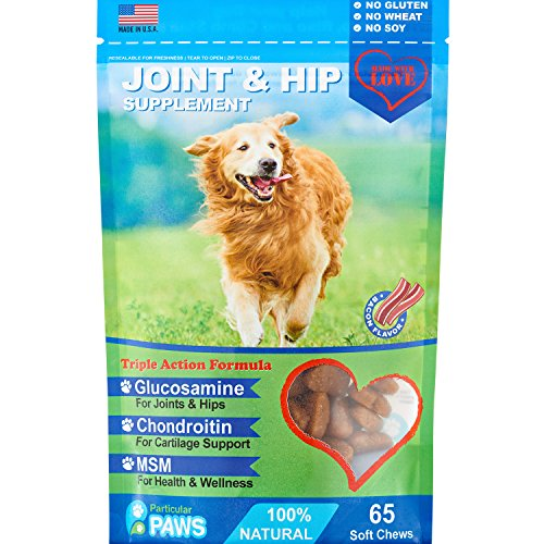 Glucosamine-for-Dogs-Treats-Joint-Hip-Formula-with-MSM-Chondroitin-and-Hyaluronic-Acid-Bacon-Flavor-65-Soft-Chews