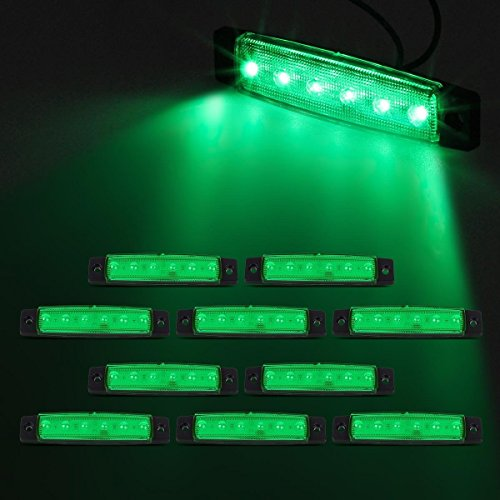 Partsam 10x 6 LED Green Side Marker Indicators Parking Light Trailer Truck Lorry HGV (Green Led Brake Lights compare prices)