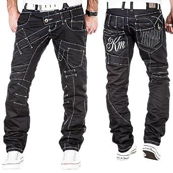 kosmo lupo herren jeans hose clubwear coole n hte look ziernaht chino schwarz w29 w38 l32. Black Bedroom Furniture Sets. Home Design Ideas