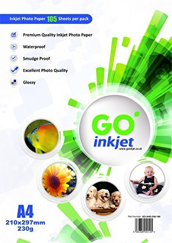GO Inkjet 100 Sheets A4 230Gsm Glossy Photo Paper 11.75 x 8.25 Inches Plus Extra 5 Sheets