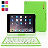 Snugg Ultra Slim 360 Rotatable Keyboard Case with Bluetooth Connectivity for Apple iPad Mini 1 / 2 / 3 Retina - Green