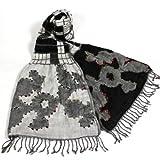 (アバー) abbar インド製ハンドメイド花柄刺繍とチェック柄の大判ストール