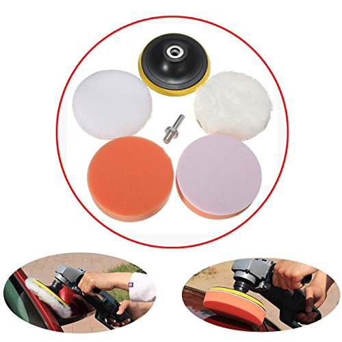 MATCC 6pcs 3.94 Inch Sponge and Woolen Polishing Buffing Pad Kit For Car Polisher (Car Polisher Drill compare prices)