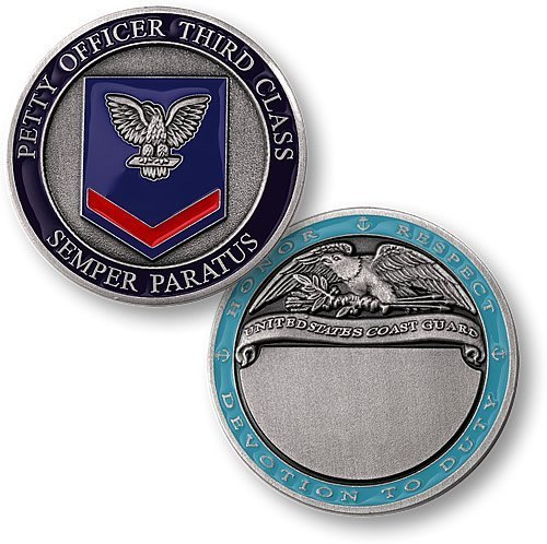 Coast Guard Petty Officer Third Class Engravable Challenge Coin