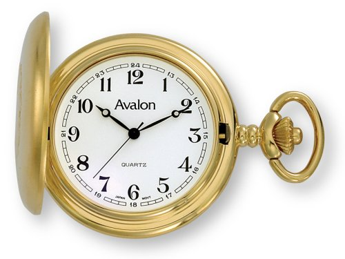 Avalon Gold-tone Covered Pocket Watch with Chain, # 1147