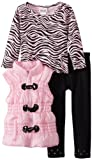 Little Lass Girls 2-6X 3 Piece Toggle Puffy Vest Set