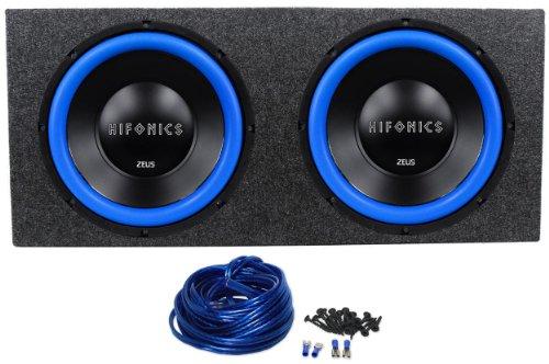 "Package: (2) Hifonics Zw12D4 12"" Dual 4-Ohm 1200 Watts Peak/600 Watts Rms Car Audio Subwoofers + Rockville Rd12 Dual 12"" 1.25 Cu.Ft. Sealed Subwoofer Enclosure + Dual Enclosure Wiring Kit With 14 Gauge Speaker Wire + Screws + Spade Terminal"