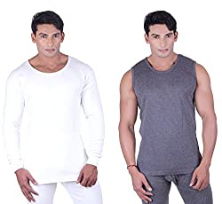 DREAMDROP WARMERS MEN FULLSLEEVES AND SLEEVELESS THERMALS(PACK OF 2) (X-Large)