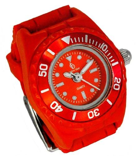 Crystal blue Ringuhr Fingeruhr Uhren Ring Ringclock Damenuhr Quarz rot 22143