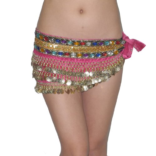 Ladies Sexy Exotic Belly Dance Beaded Hip Scarf with Coins
