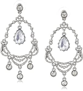 "Betsey Johnson ""Stone & Pearl"" Teardrop Chandelier Drop Earrings"